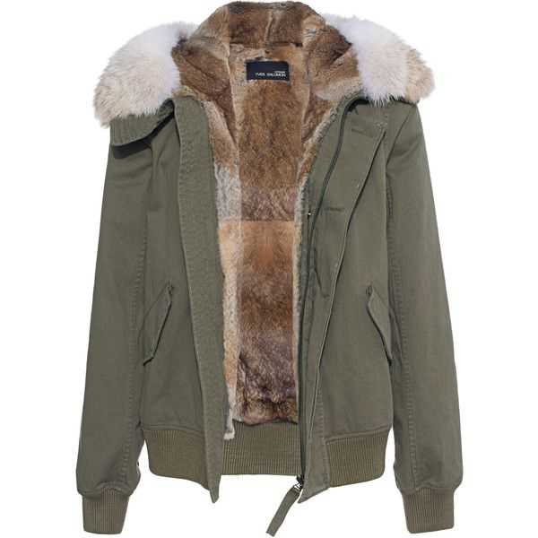 YVES SALOMON Coyote Short Olive // Jacket with fur lining ($1,840) ❤ liked on Polyvore featuring men's fashion, men's clothing, men's outerwear, men's jackets, mens fur lined hooded jacket, mens olive green parka jacket, mens parka jacket, mens short jacket and mens green military jacket