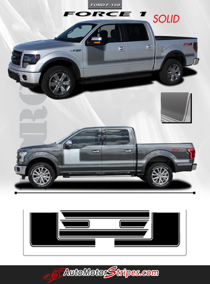 2009 2014 and 2015 2018 ford f 150 force 1 one factory style hockey stick side vinyl decal graphic 3m stripes