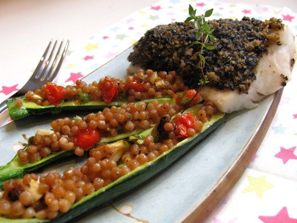 Baked Cod with an Olive, Chilli and Lemon Crust with Stuffed courgette -