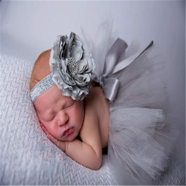Lovely Newborn Baby Girl Princess Skirt Dress Headband Photography Prop Outfit U
