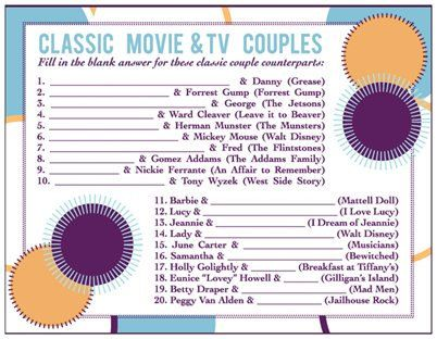 Mad Men Bridal Shower Game - Classic 50s / 60s Television Movie Couples Cards on Etsy.com