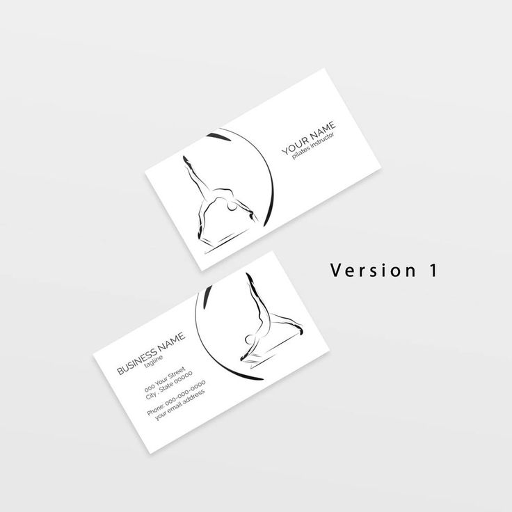 Pilates business card with two abstract poses | Pilates logo | Pilates instructor | Pilates studio by DigitalGoodsDesigns on Etsy