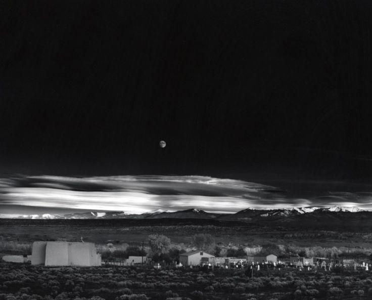 """Moonrise, Hernandez, New Mexico"" (610 000 $). Ansel Adams, in November 1941. =======================  ""ВОСХОД ЛУНЫ, Эрнандес, Нью-Мексико"" (610 000 $). Ансель Адамс, ноябрь 1941."