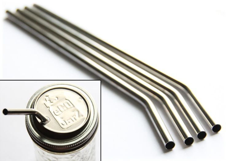 Ecojarz. Stainless steel straws and lids that fit mason jars!  No more chemical filled plastic!