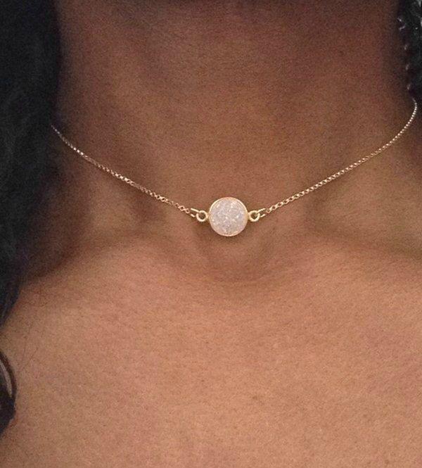 Gold Choker Necklace Gold Druzy Necklace Gold Choker Chain White Druzy Choker Gold Collar Necklace Dainty Gold Choker Druzy Jewelry by PABJewellery on Etsy