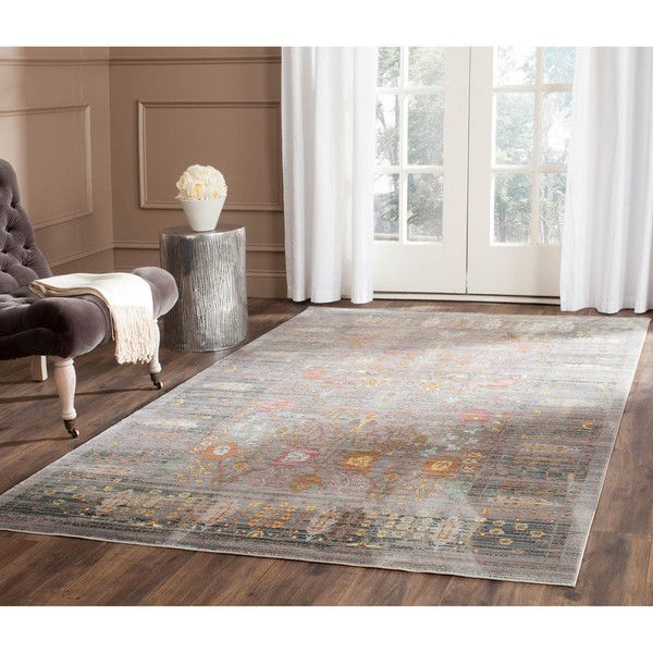 Safavieh Valencia Grey Multi Distressed Silky Polyester Rug 8 X 10 By Rugs For Living RoomDining