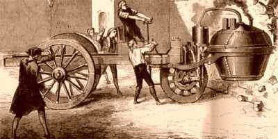 Old Engraving depicting the 1771 crash of Nicolas Joseph Cugnot's steam powered car