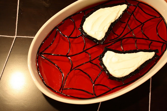 spiderman Jell-o (she used black licorice- Yuck!! I'd definitely go for some black piping gel!)