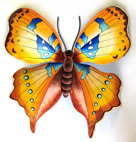 "Butterfly Metal Wall Hanging - Handcrafted  Tropical Home Decor - Hand Painted Steel Drum - 18"" x 21""   Outstanding gold and blue hand painted metal butterfly wall decor. Wonderful for your indoor or outdoor decorating."