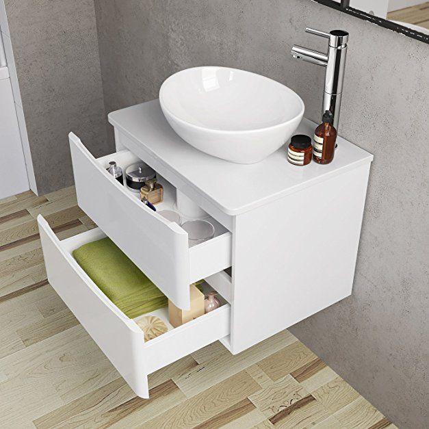 600mm Bathroom Furniture Countertop Vanity Unit Basin Gloss White Wall Hung Ibathuk Amazon Co Uk Kitchen H Vanity Units White Wall Hanging Countertops