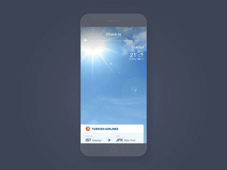 Turkish Airlines check-in animation showing weather info of departure and arrival cities. You can slide the ticket vertically or the airplane horizontally for going back and forth. Check out the b...