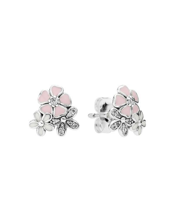 Pandora Earrings - Sterling Silver, Cubic Zirconia & Enamel Poetic Blooms Studs