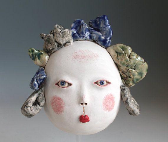 Ceramic Wall Mask Cloud Stoneware Sculpture Wall by midoritakaki