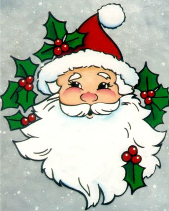 Free Craft Painting Patterns | Sweet Santa Claus face, painting pattern.