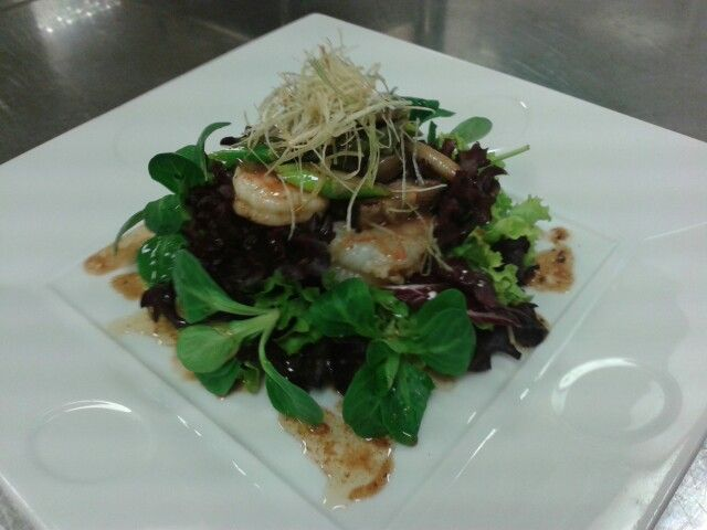 Shrimp and Mushroom salad  Black bean dressing