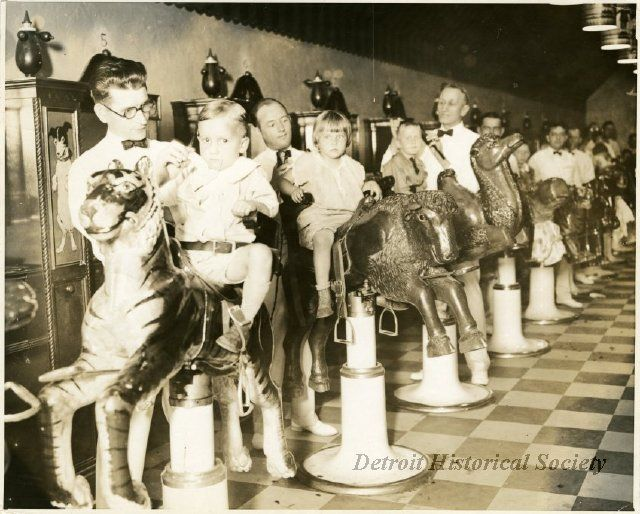children s barber shop at the j l hudson dept store children are seated in chairs