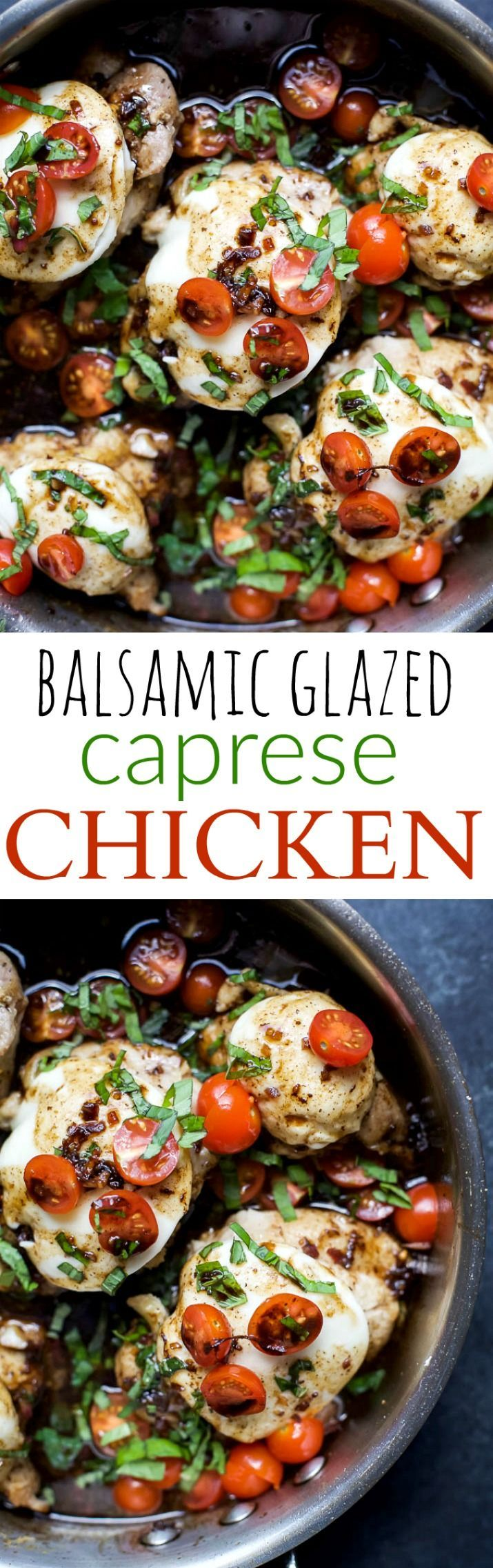 One Pan Balsamic Glazed Caprese Chicken - an easy recipe done in less than 40 minutes. Tender juicy Chicken cooked in balsamic glaze. I guarantee your family will be begging for you to make this again! | joyfulhealthyeats.com #glutenfree #highprotein