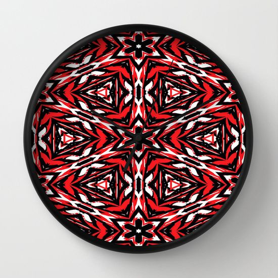 Black, white and red kaleidoscope 9070 wall clock