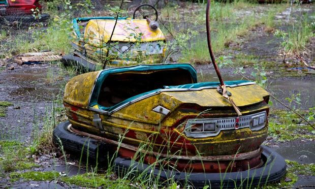 Dodgem cars at the abandoned Pripyat amusement park near Chernobyl. Photograph: Timothy Swope/Alamy