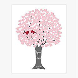 Personalized Wedding Anniversary Art Print: Lovebirds in Heart Tree with Custom Names, Wedding Date, Colors, Many Sizes