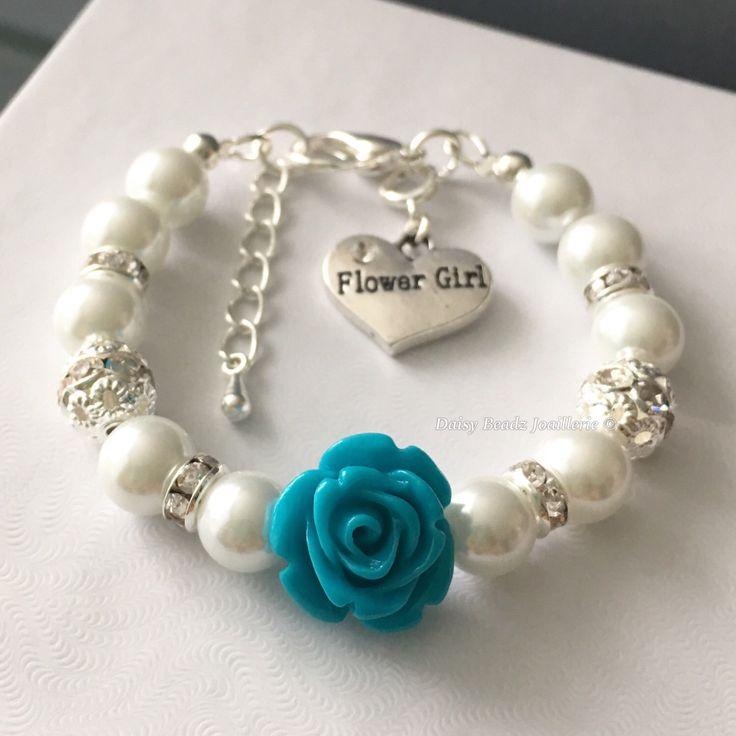 Dark Turquoise Flower and Ivory Pearl Bracelet, Flower Girl Jewelry, Flower Girl…