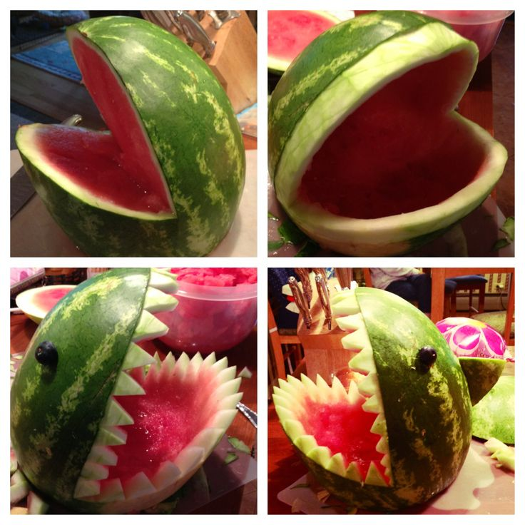 Carve a watermelon shark and fill it with fruit salad