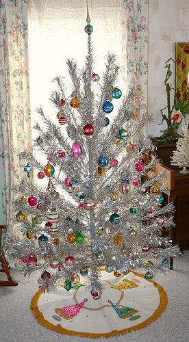 Vintage Aluminum Tree and ornaments