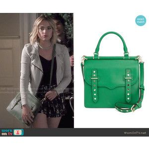 Hanna's floral shorts and cropped moto jacket on Pretty Little Liars