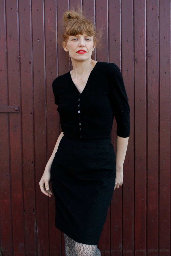 Vintage 1960's Black Wool Pencil Skirt TIMELESS Wiggle Skirt CLASSIC