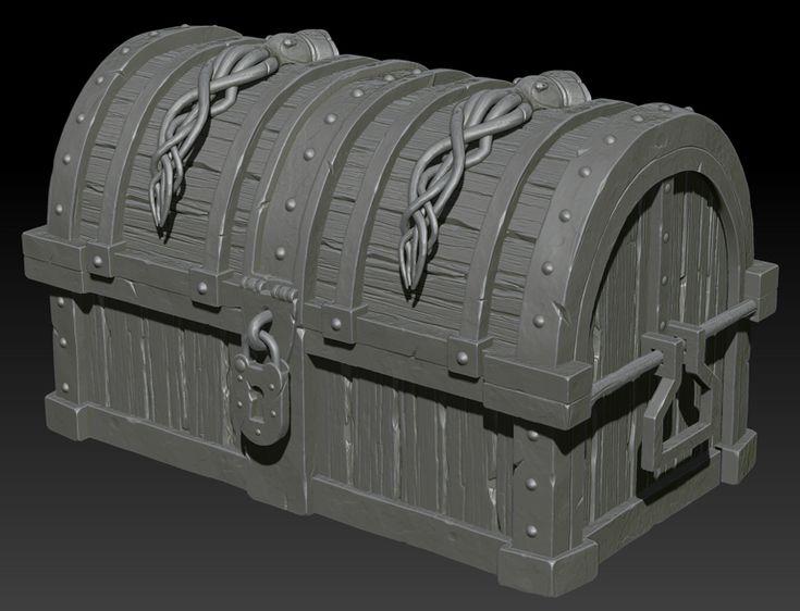 Treasure chest on Zbrush by ganooon on deviantART