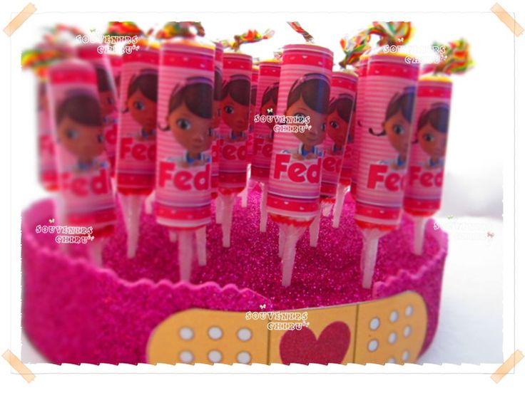 www.facebook.com/souvenirs.chiru Chupetines personalizados, golosinas personalizadas doctora juguetes.