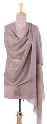 Taupe Changthang Handwoven Cashmere Wool Shawl in Taupe from India. Shawl fashions. I'm an affiliate marketer. When you click on a link or buy from the retailer, I earn a commission.