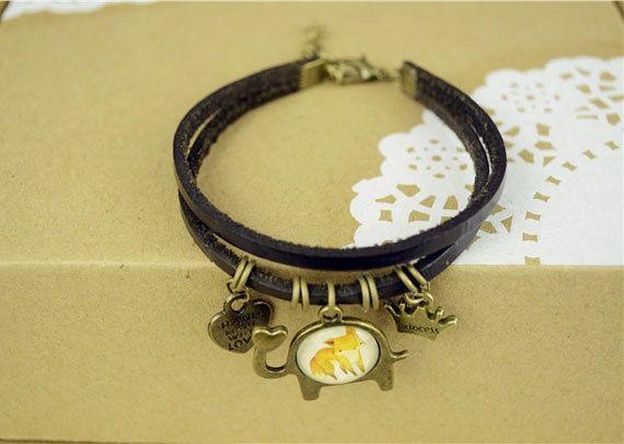 Fox Bracelet-Leather-Brass charm-elegant design from Picsity.com
