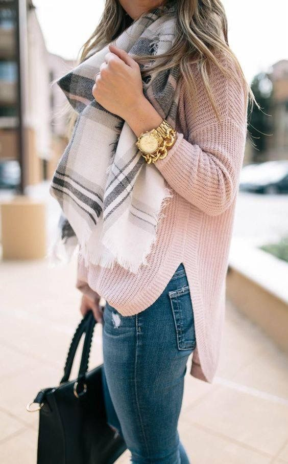 Winter/Spring transition outfit. Love the soft pink knit sweater and scarf