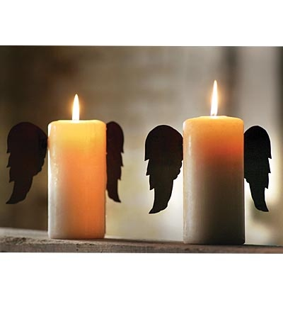 "Rustic Tin Angel Wings For Pillar Candles! Turns any candle into an ""Angel Candle""--cute, right?"
