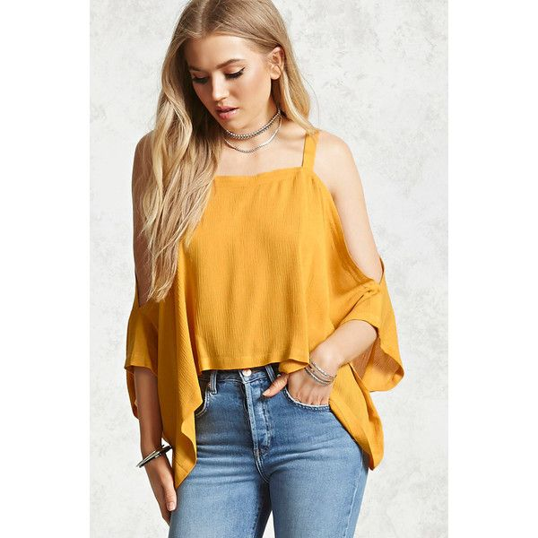 Forever21 Open-Shoulder Batwing Top ($16) ❤ liked on Polyvore featuring tops, mustard, bat sleeve tops, cut-out shoulder tops, batwing tops, cold shoulder tops and cut shoulder tops