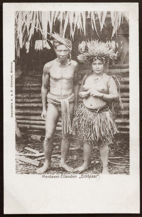 Mentawai native Man and Woman ~ Indonesia ~ ca 1906
