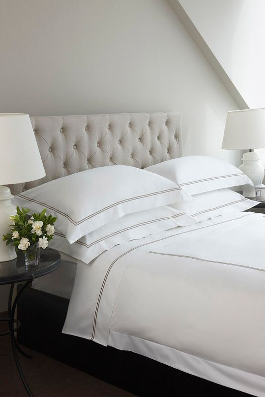 Diamond Buttoned Natural Linen Bedheads From Hotel Luxury collection