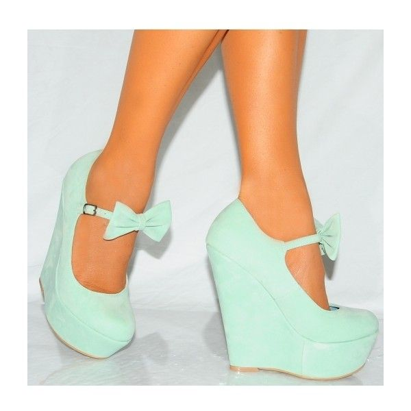 Koi Couture Ladies Hr110 Mint Green Bow Wedges ($43) ❤ liked on Polyvore featuring shoes, heels, wedges shoes, bow wedges shoes, women shoes, bow shoes and couture shoes