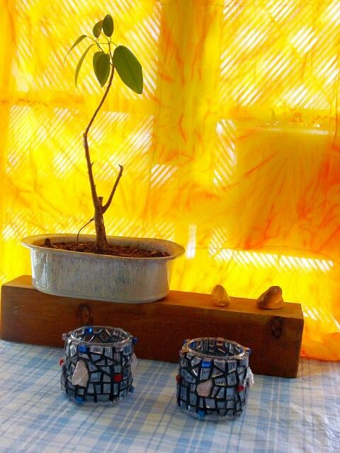 """""""Twin Flames"""" mosaic tea light candle holders - 2009 by Kevin McMahon @MosaicAvatar"""