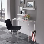 Consolle scrittoio in plexiglass 100x40x75, Codice: acriplex_applewall. White desk luxury.