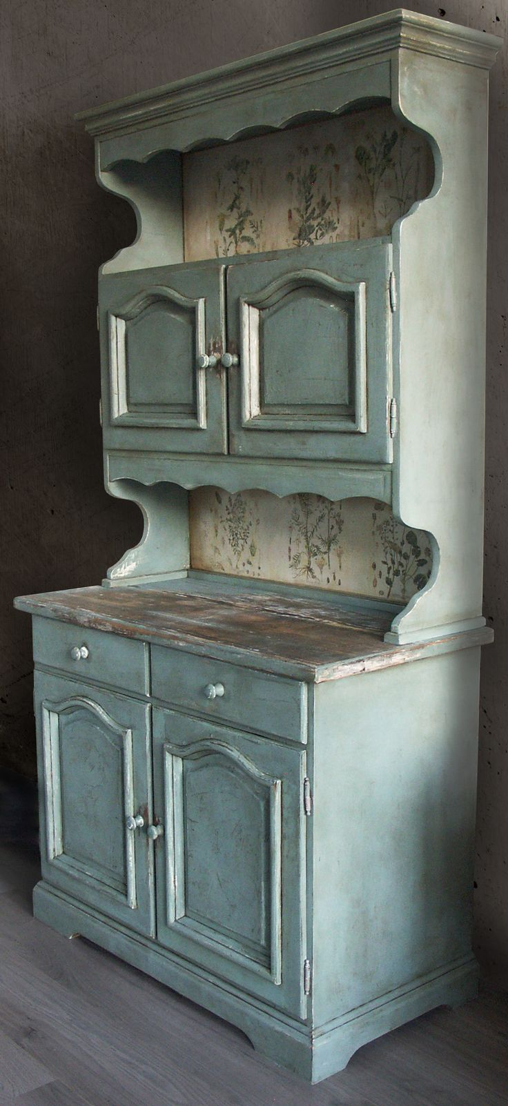Cupboard in Annie Sloan Duck Egg Blue. My own design: hand painted, distressed and waxed with herbal boards. Eacolours design, check out my Esty shop https://www.etsy.com/shop/eacolours