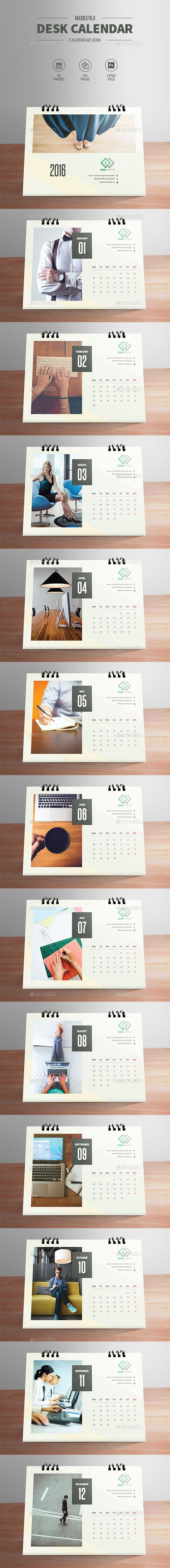 Clean Desktop Calendar 2016 Template PSD #design Download: http://graphicriver.net/item/clean-desktop-calendar-2016/13971717?ref=ksioks