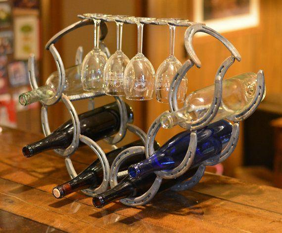 Horseshoe Wine Rack by WiemerWelding on Etsy