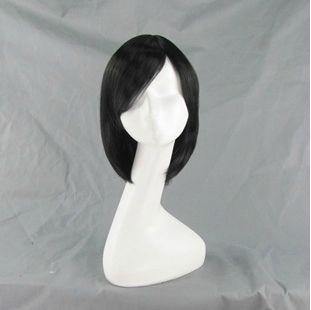 Нападение на титан Mikasa акерман парик потому костюм ну вечеринку парики 35 см короткие волосы черные + бесплатная парик кепка