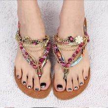 Femmes sandales 2016 nouvelle mode casual douce diamant perles pincer sandales plates bohême sandales sandales femmes pourpres(China (Mainland))