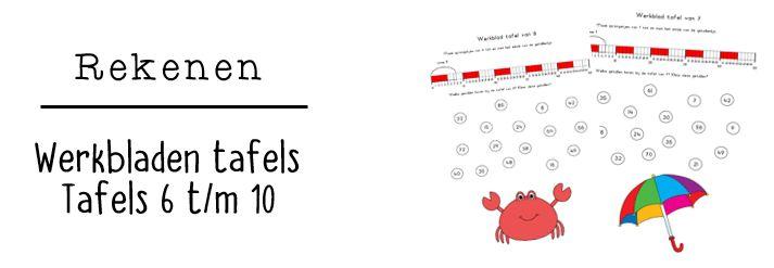 JufShanna: werkbladen tafels - tafels 6 t/m 10