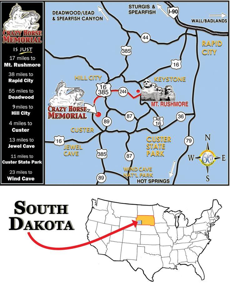 South Dakota - Mount Rushmore and Crazy Horse Memorial map