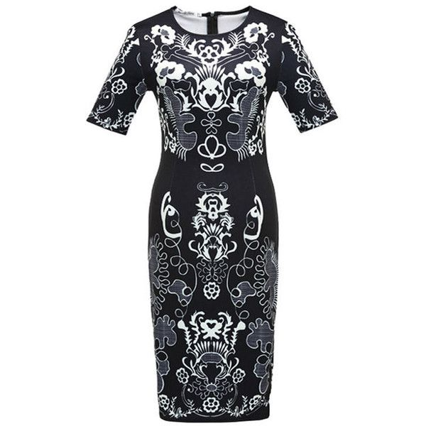 Elegant Round Neck Plus Size Bodycon Dress In Tribal Printed ($31) ❤ liked on Polyvore featuring dresses, tribal print bodycon dress, plus size tribal dress, tribal bodycon dress, summer dresses and tribal dress