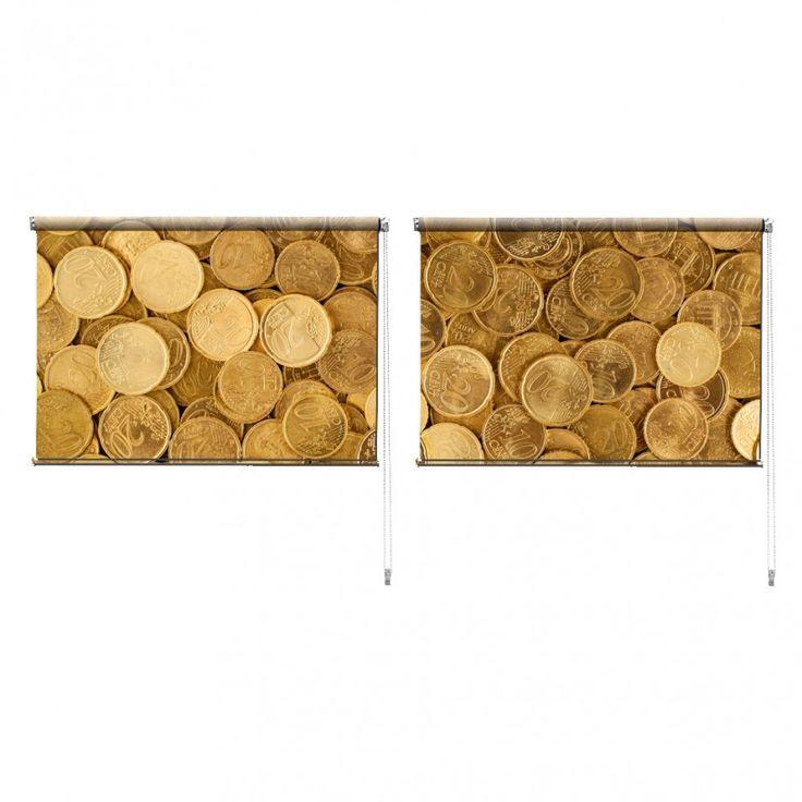 Duo rolgordijn Eurocent | De duo rolgordijnen van YouPri zijn iets heel bijzonders! Maak keuze uit een verduisterend of een lichtdoorlatend rolgordijn. Inclusief ophangmechanisme voor wand of plafond! #rolgordijn #gordijn #lichtdoorlatend #verduisterend #goedkoop #voordelig #polyester #duo #twee #geld #euro #cent #centen #munt #munten #geel #rijk